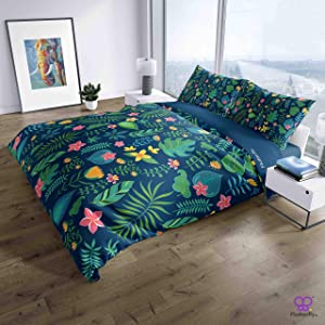 Flutterfly - Leafs Flowers Blue Bedding Set - 4 Piece Set - (1158-1212) | for All Seasons | 100% Soft | 1 Double Bed Comforter 1 Bedsheet 2 Pillow Covers | Fade Resistant
