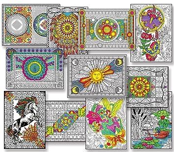 Amazon.com: Line Art Bundle - 10 Coloring Poster Best Sellers Pack ...