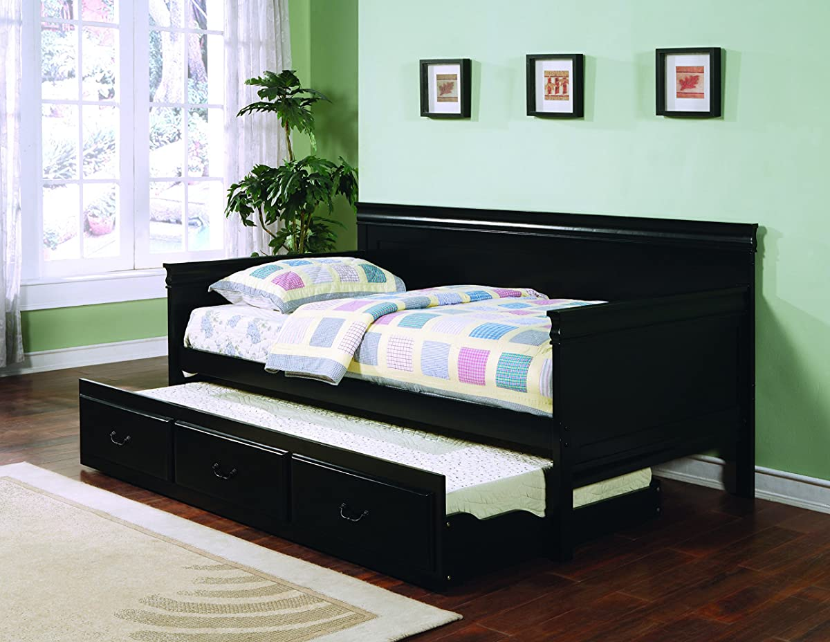Coaster Traditional Style Black Finish Daybed with Trundle