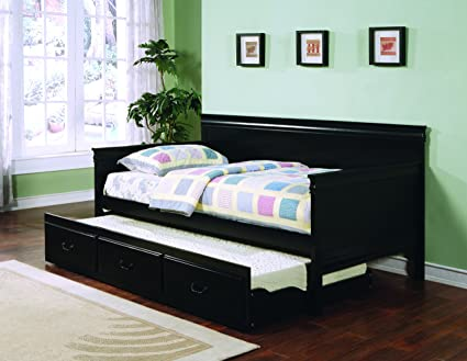 Amazon.com: Louis Philippe Twin Day Bed with Trundle Black