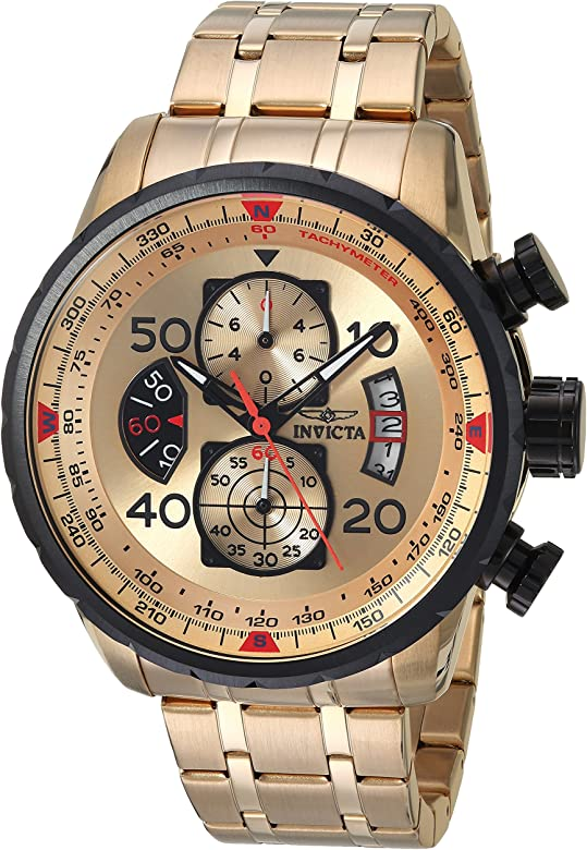 Invicta Men 17205 AVIATOR 18k Gold IonPlated Watch