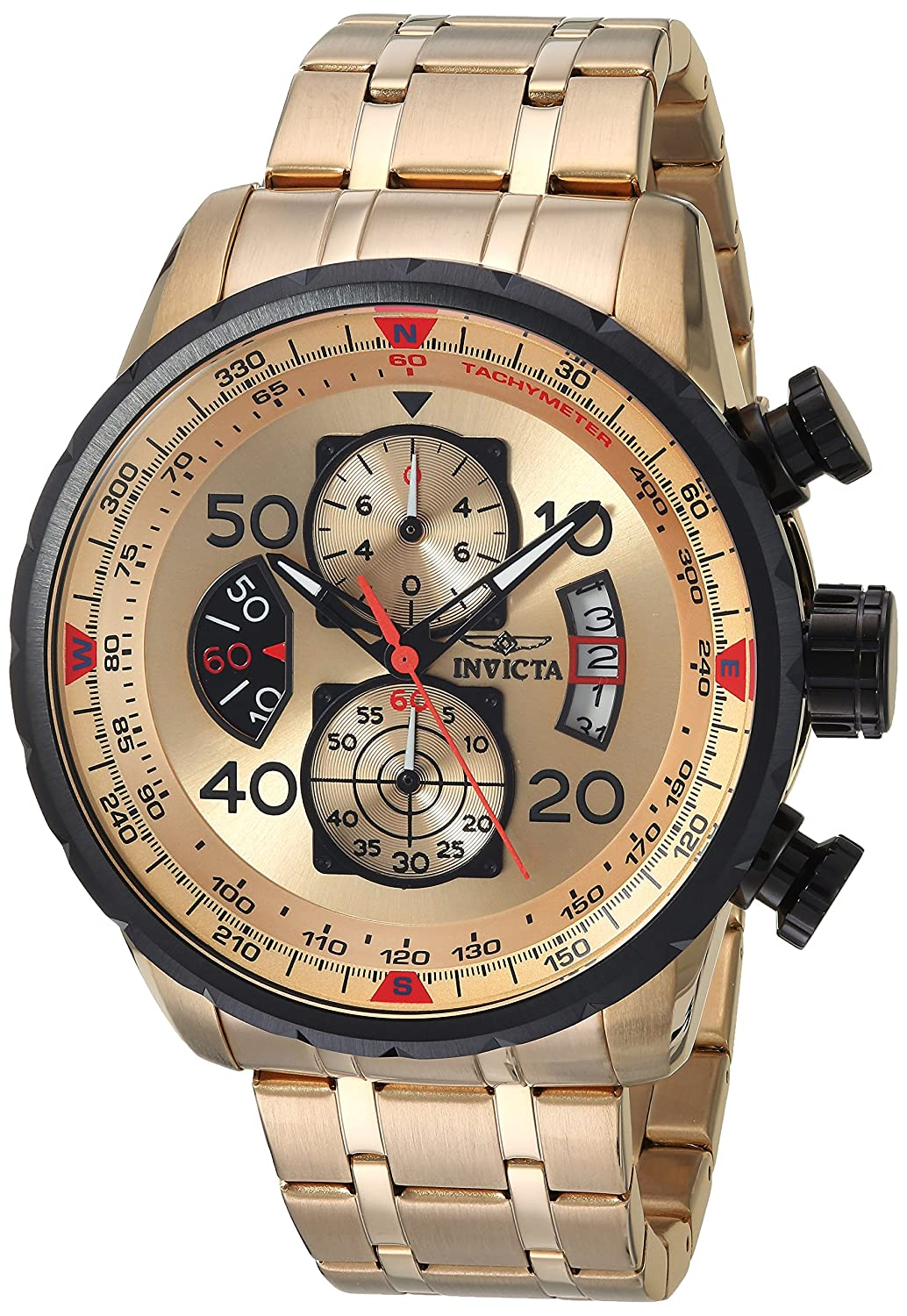 Invicta Men s 17205 AVIATOR 18k Gold Ion-Plated Watch