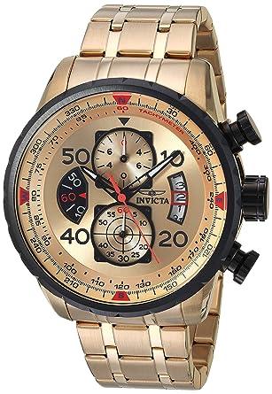 eb4d5e955d9 Amazon.com  Invicta Men s 17205 AVIATOR 18k Gold Ion-Plated Watch ...
