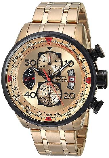 Invicta 17205 - Reloj para Hombres, Correa de Acero Inoxidable Color Dorado: Amazon.es: Relojes