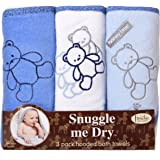 Frenchie Mini Couture Bear Hooded Towel Set, 3 Pack, Boy