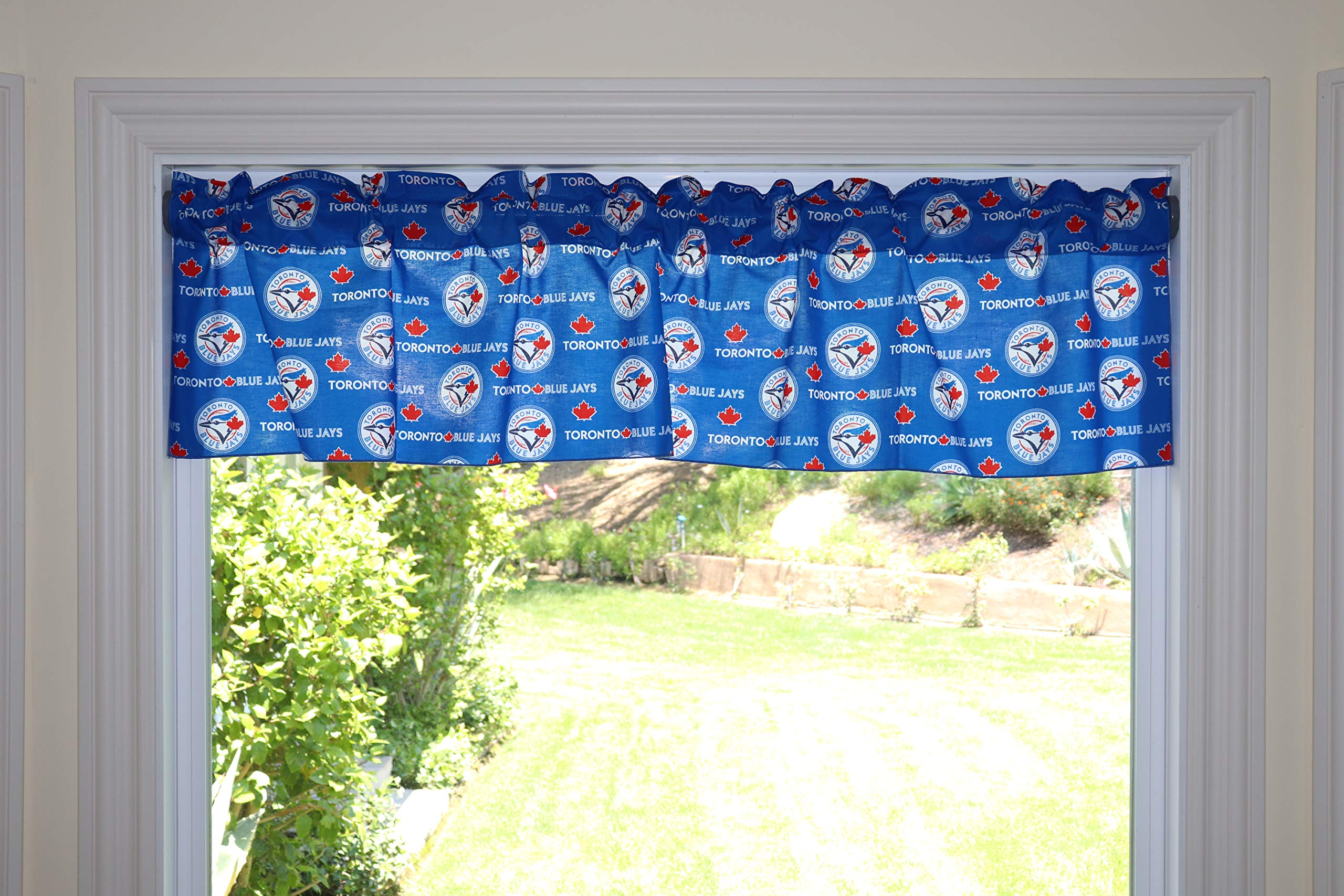 lovemyfabric Baseball Cotton Window Valance 100% Cotton Print MLB Sports Team Toronto Blue Jays Events Kitchen Dining Room Bedroom Window Decor (58'' Wide) (14'' Tall) by lovemyfabric