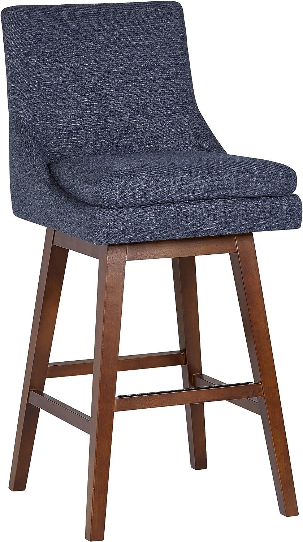 "Amazon Brand – Stone & Beam Alaina Contemporary High-Back Swivel Seat Bar Stool, 43""H, Blue"
