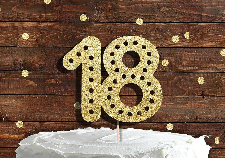 Número 18 agujeros dorado con purpurina decoración para ...