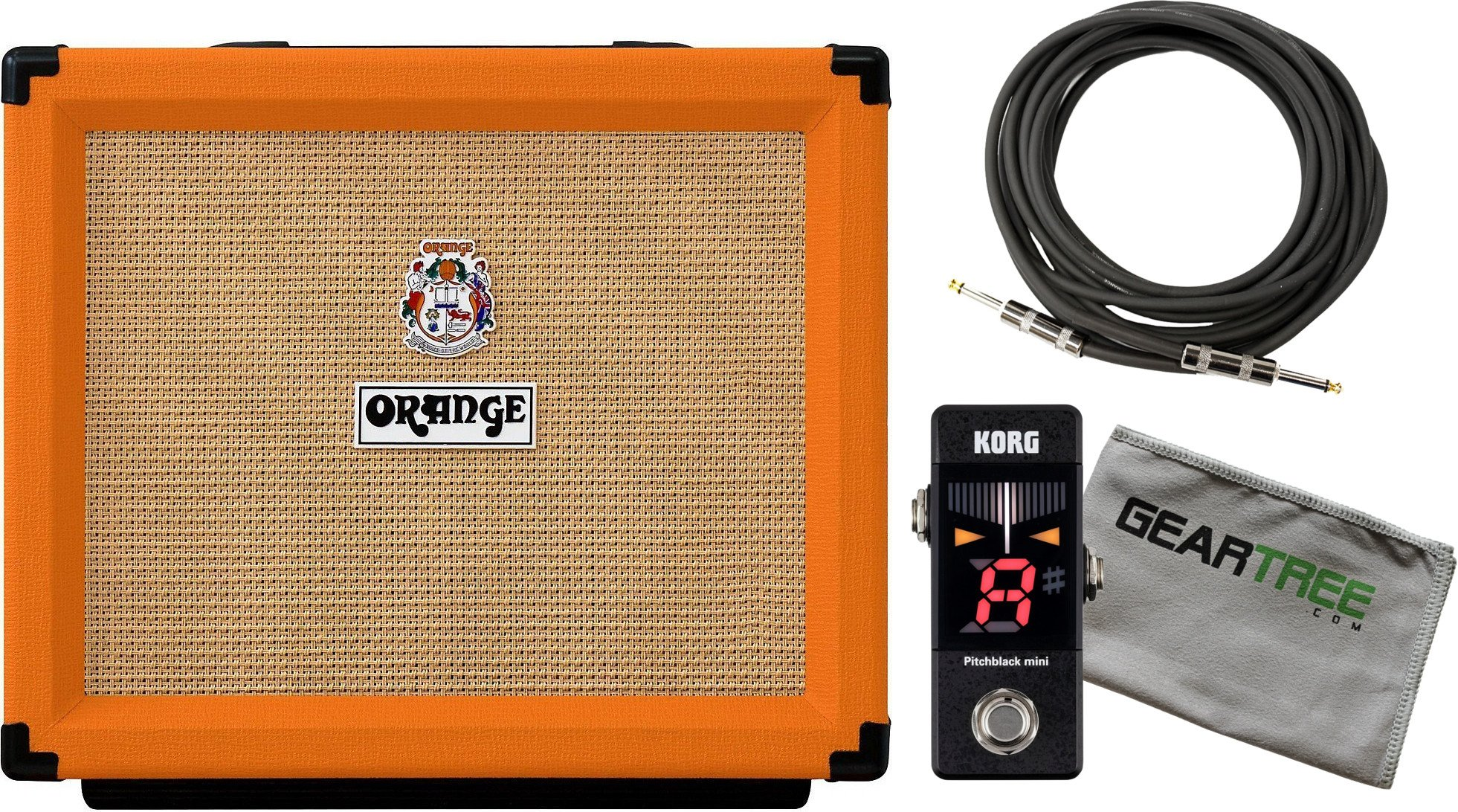 Orange Rocker 15 Guitar Combo Amp with 1 x 10 Gold Label Speaker w/ Cloth, Cable, and Pedal Tuner