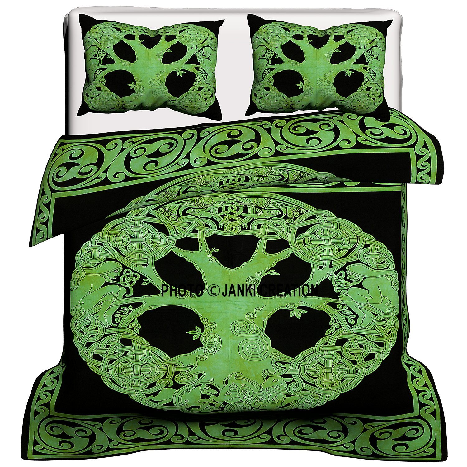 Exclusive Green Celtic Tree of Life Range of Reversible Queen Size Duvet Cover Set With Pillow Covers, Indian Duvet Quilt Cover Coverlet Bohemian Doona Cover Handmade WITH PILOW 80'' x 82''