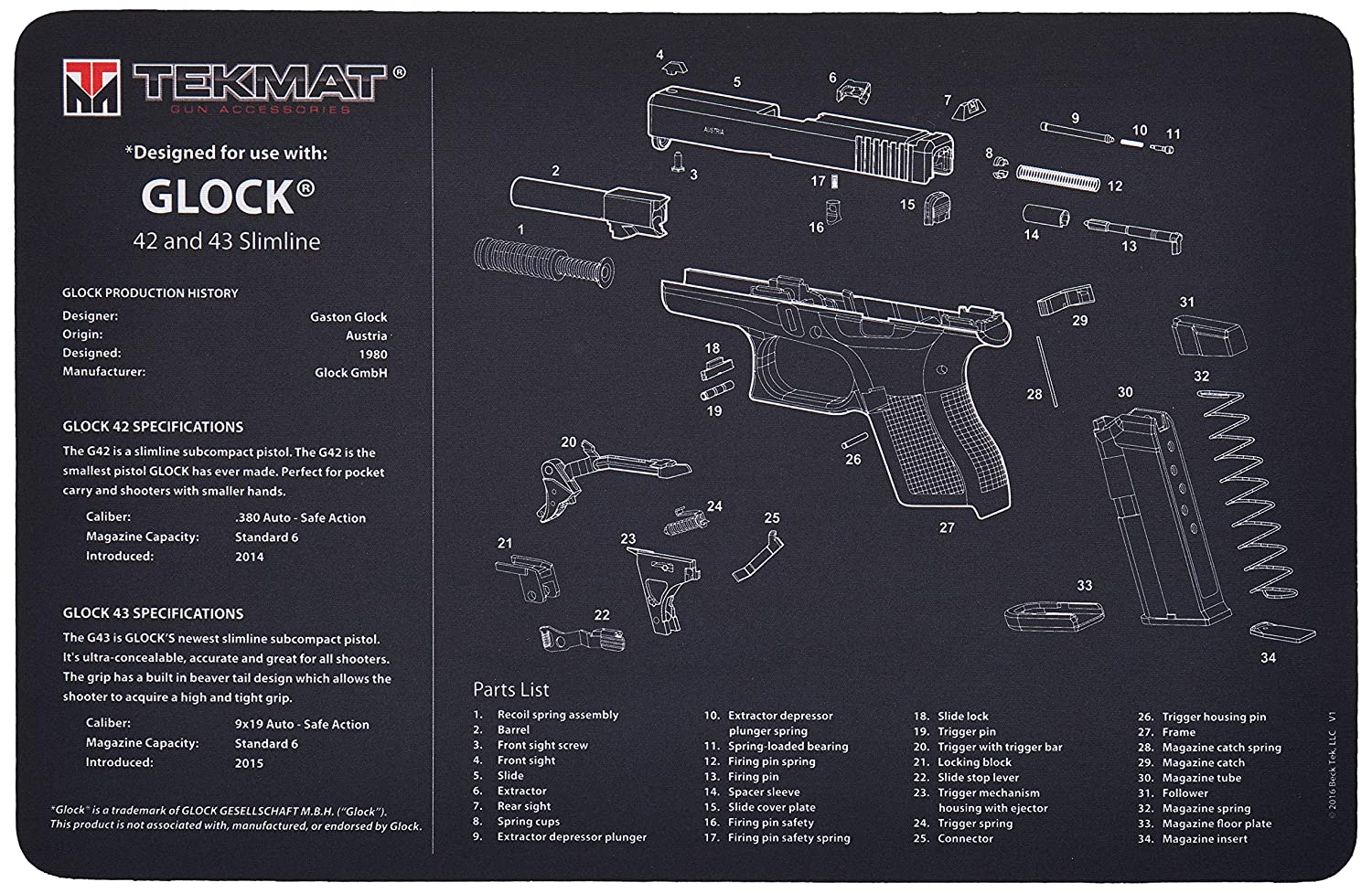 Prime Amazon Com Tekmat Glock 42 And 43 Gun Cleaning Mat 11 X 17 Thick Wiring 101 Capemaxxcnl