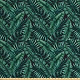 Ambesonne Palm Leaf Fabric by The Yard, Watercolor Tropical Jungle Leaves Pattern Fresh Rainforest Hawaii Summer, Decorative Fabric for Upholstery and Home Accents, 1 Yard, Dark Green Black