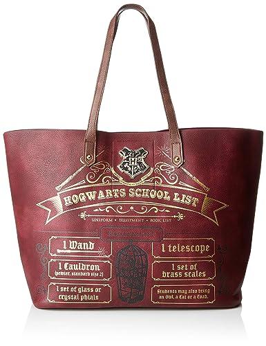 Bioworld Merchandising - Sac Cabas Harry Potter Hogwarts School List, Bolsos totes Mujer, Rojo