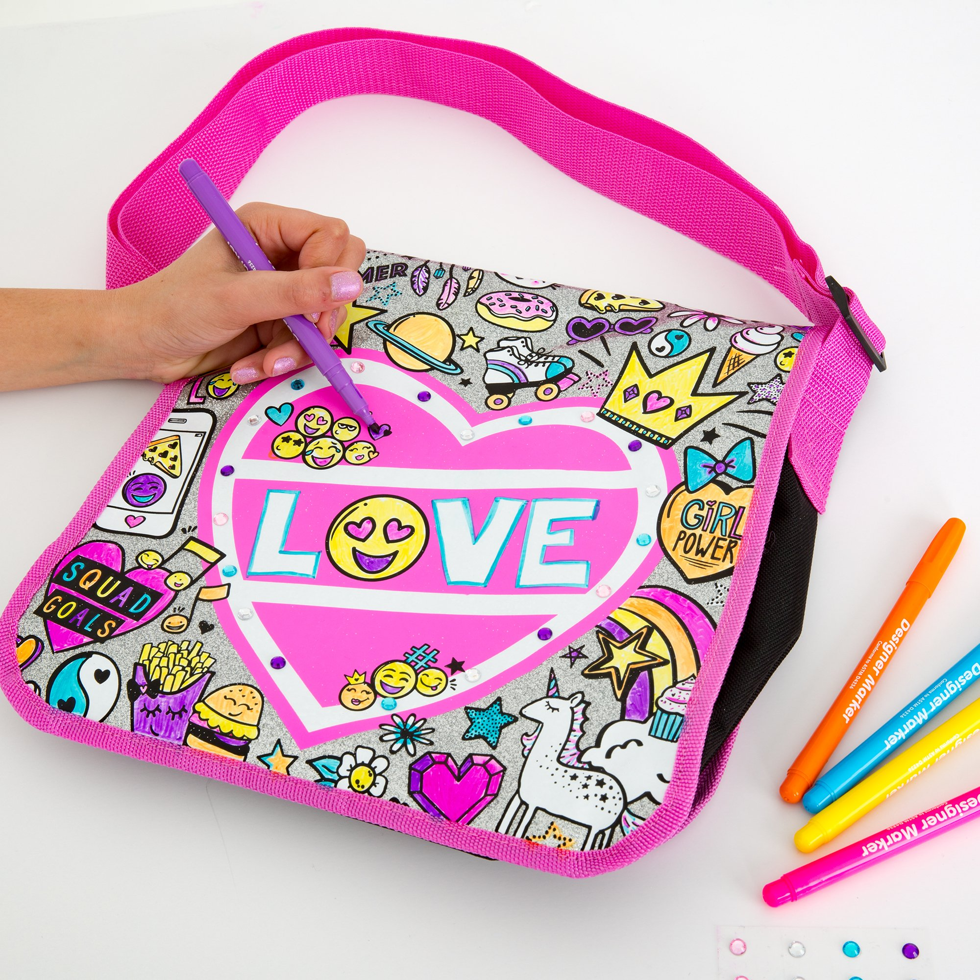 Just My Style Color Your Own Glitter Messenger Bag by Horizon Group USA by Just My Style (Image #3)