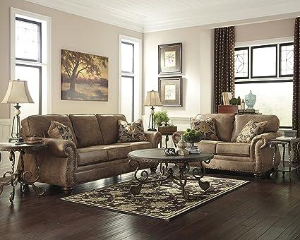 Amazon Com Larkinhurst Traditional Earth Color Faux Leather Sofa
