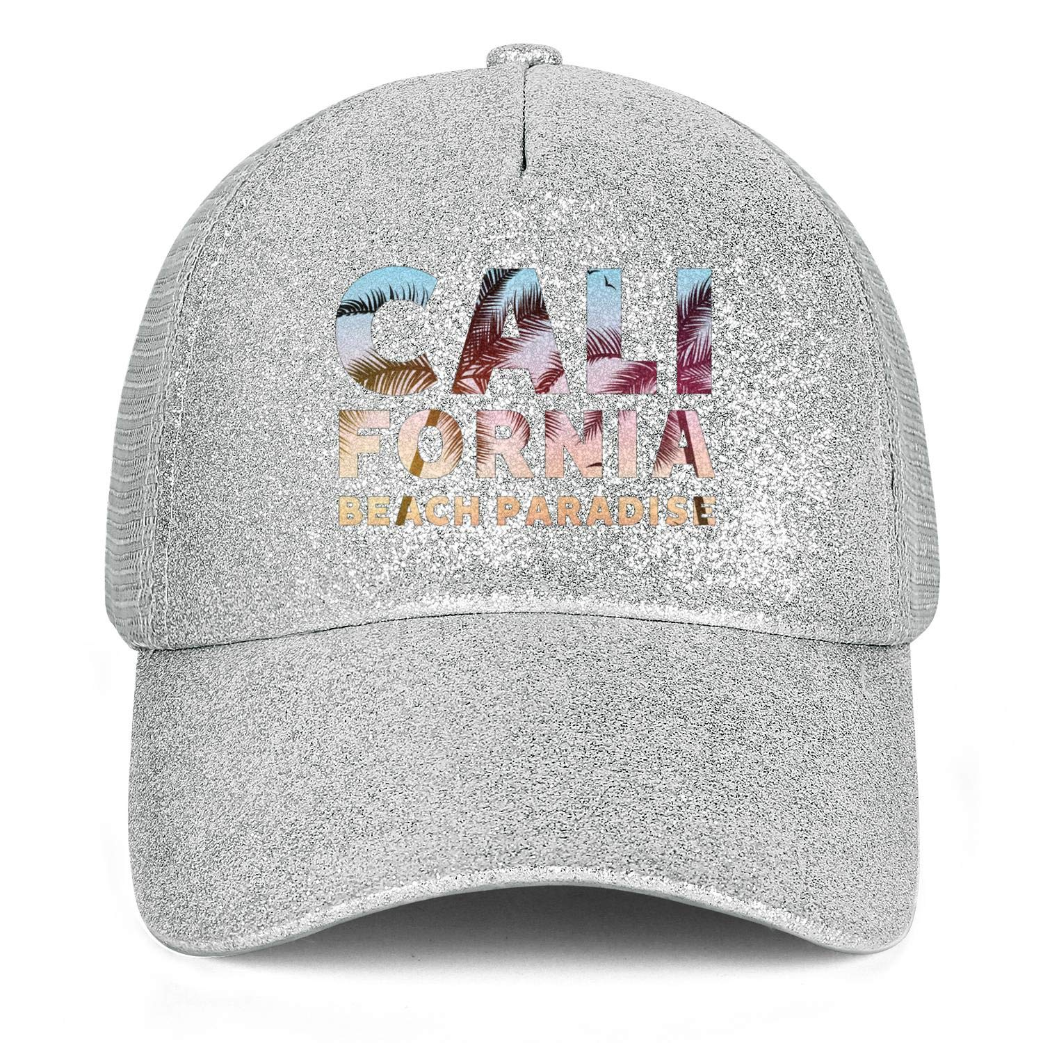 Sale23 California Palm Tree StickerWomensMeshBallPonytail Messy Cap Adjustable SnapbackBeach Hat