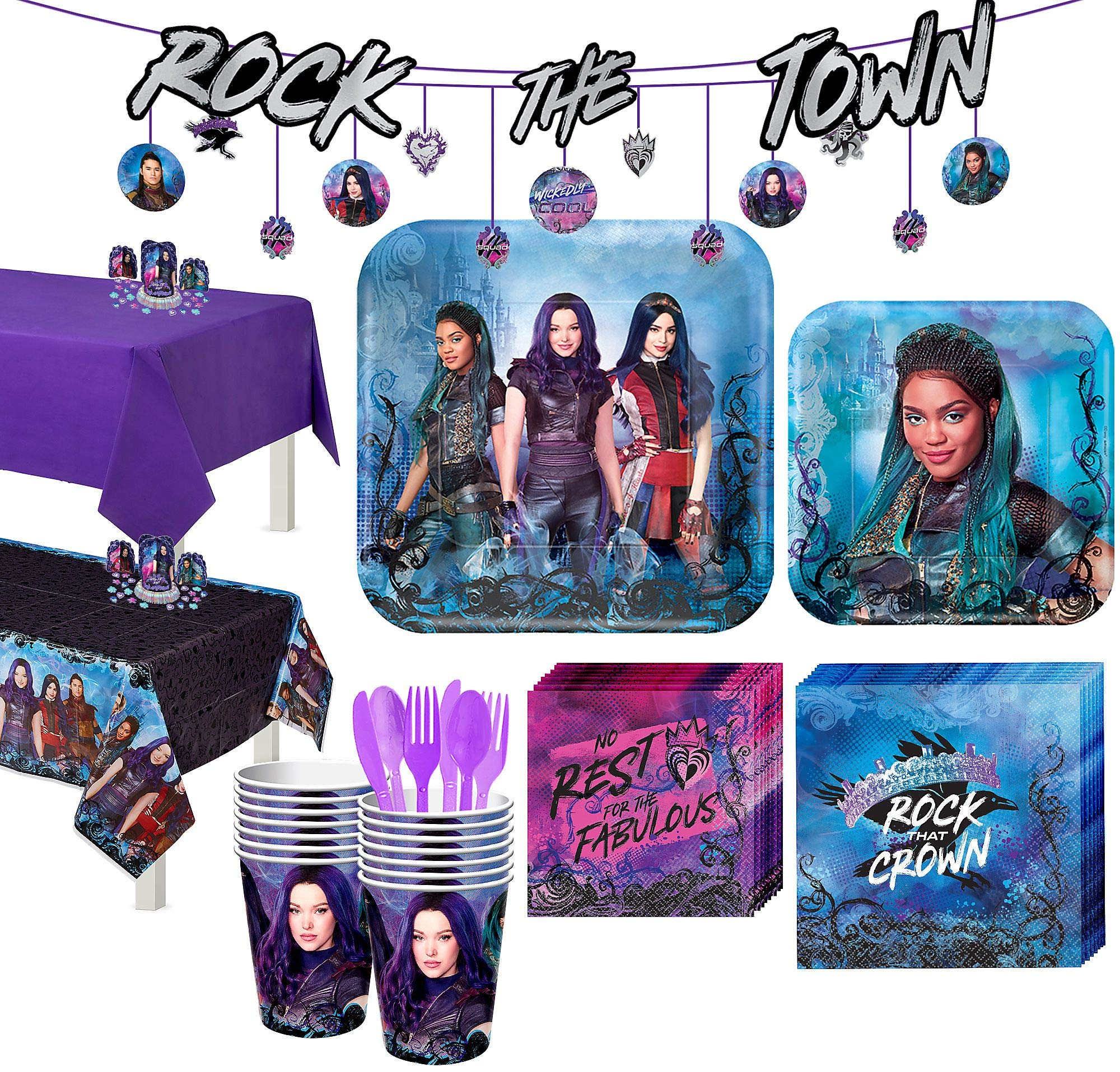 Party City Super Descendants 3 Tableware Supplies for 16 Guests, with Table Covers, Banners and More