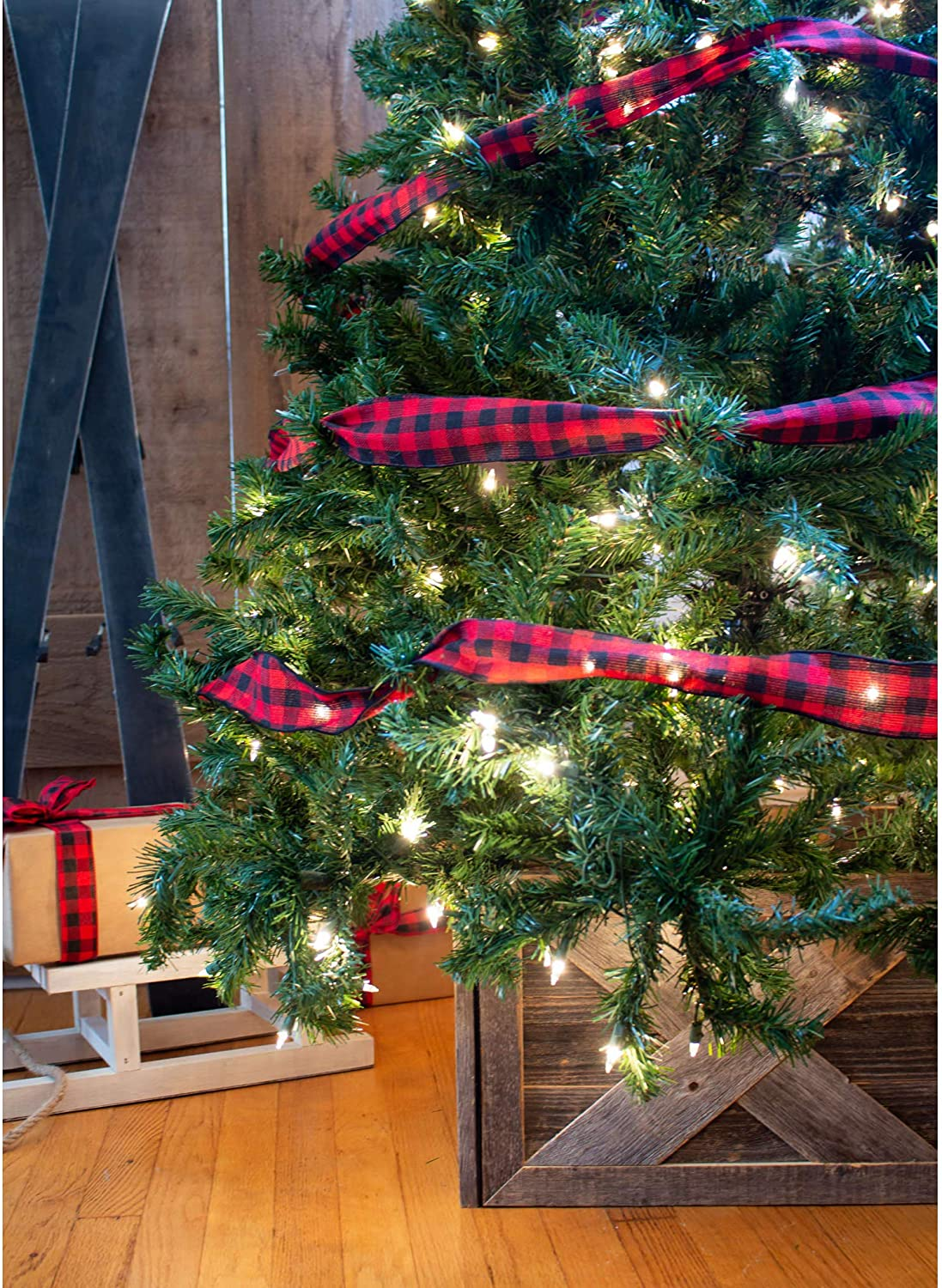 Decorations Home Accent Christmas Tree Skirt 100/% Reclaimed /& Recycled Wood BarnwoodUSA Natural Weathered Gray 4 Sides Wide Wooden Tree Box Collar Rustic Farmhouse Tree Box