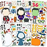 36 PCS Make-a-face Sticker Sheets Make Your Own Halloween Characters Mix and Match Sticker Sheets with Full body design Vampi