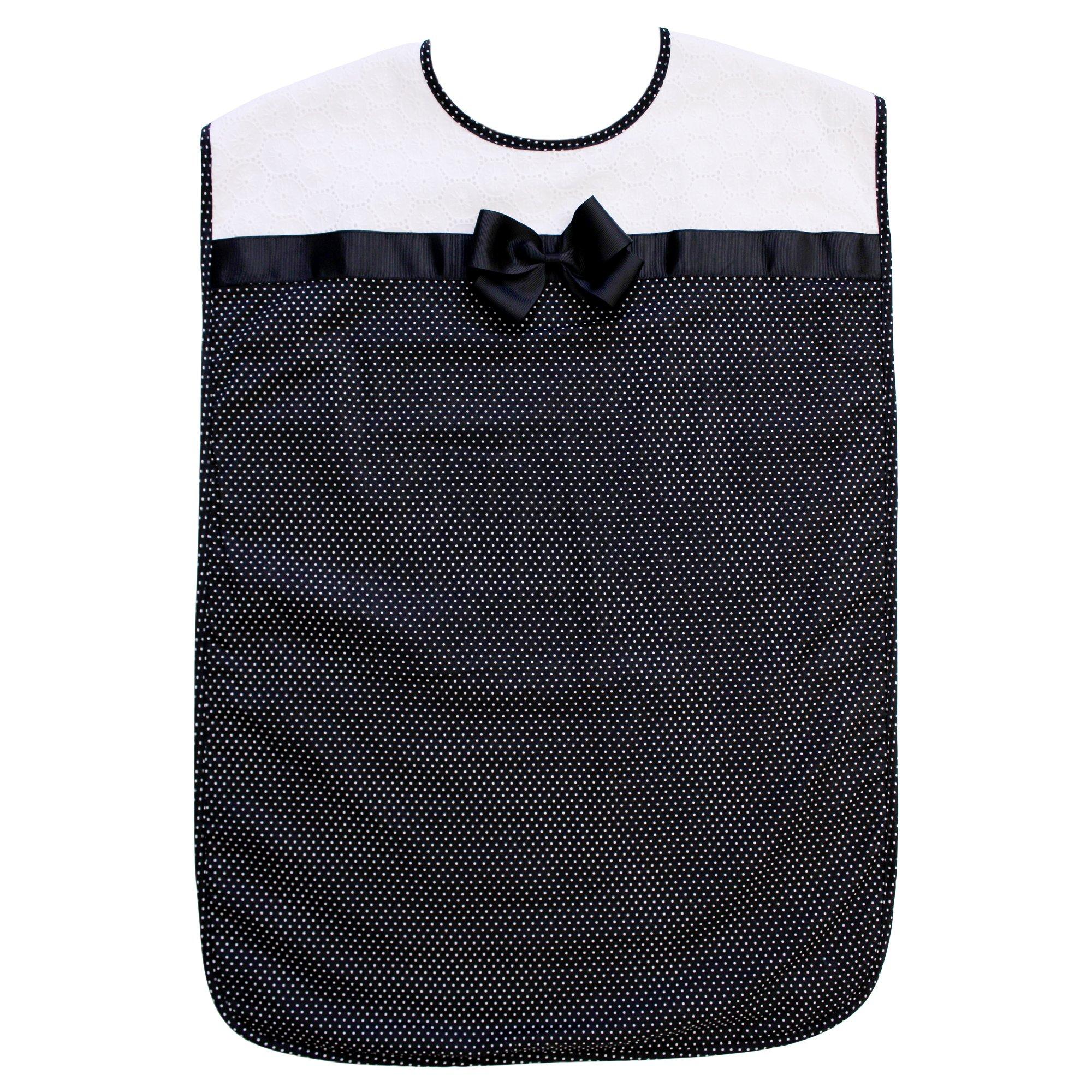 Ladies Adult Bib, Black Polka-Dot Pattern with Bowtie, Frenchie Mini Couture