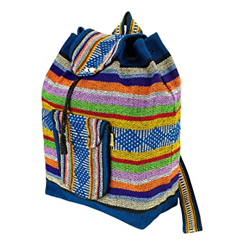 PINZON Large Unisex Hippie Backpack Woven Canvas Rucksack Drawstring Mexican Baja Boho Aztec Girls School Bags