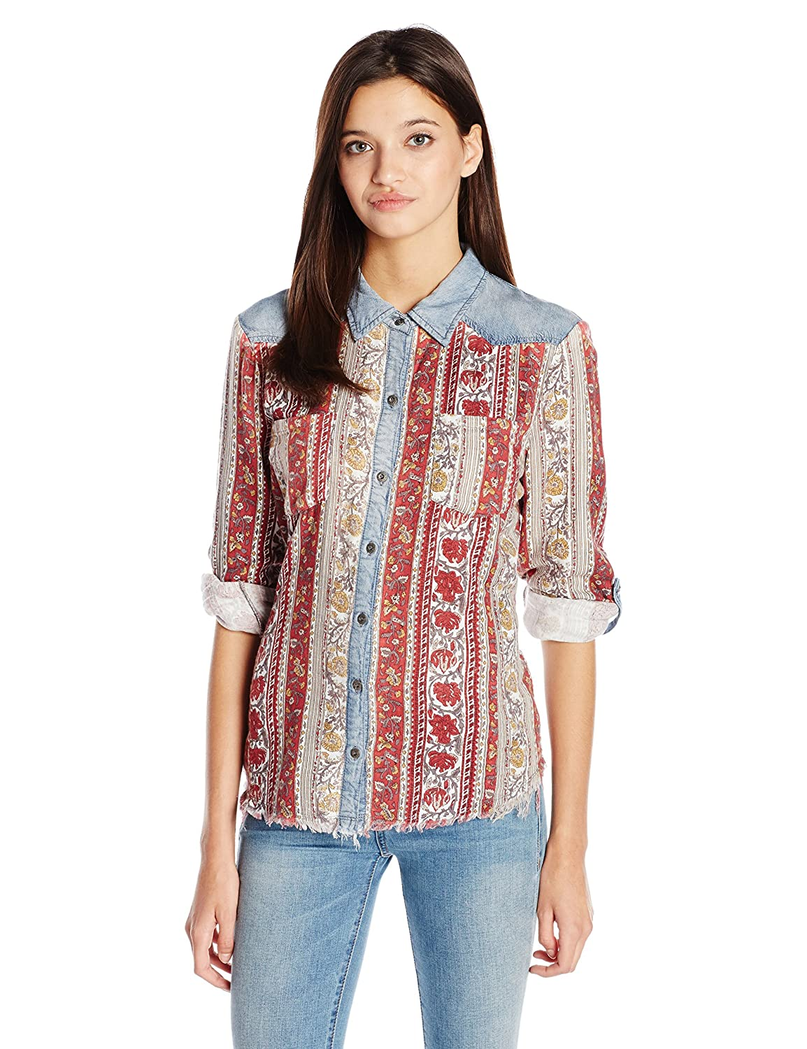 Miss Me Women's Long Sleeve Floral Chambray Shirt