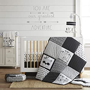 Levtex Baby Allistar 4pc Crib Set, Black&White, 4Pc Crib Bedding Set