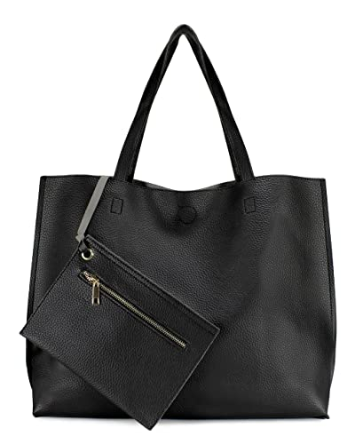 2282bc520504 Amazon.com: Scarleton Stylish Reversible Tote Handbag for Women, Vegan  Leather Shoulder Bag, Hobo bag, Satchel Purse, Black/Grey, H18420103: Shoes
