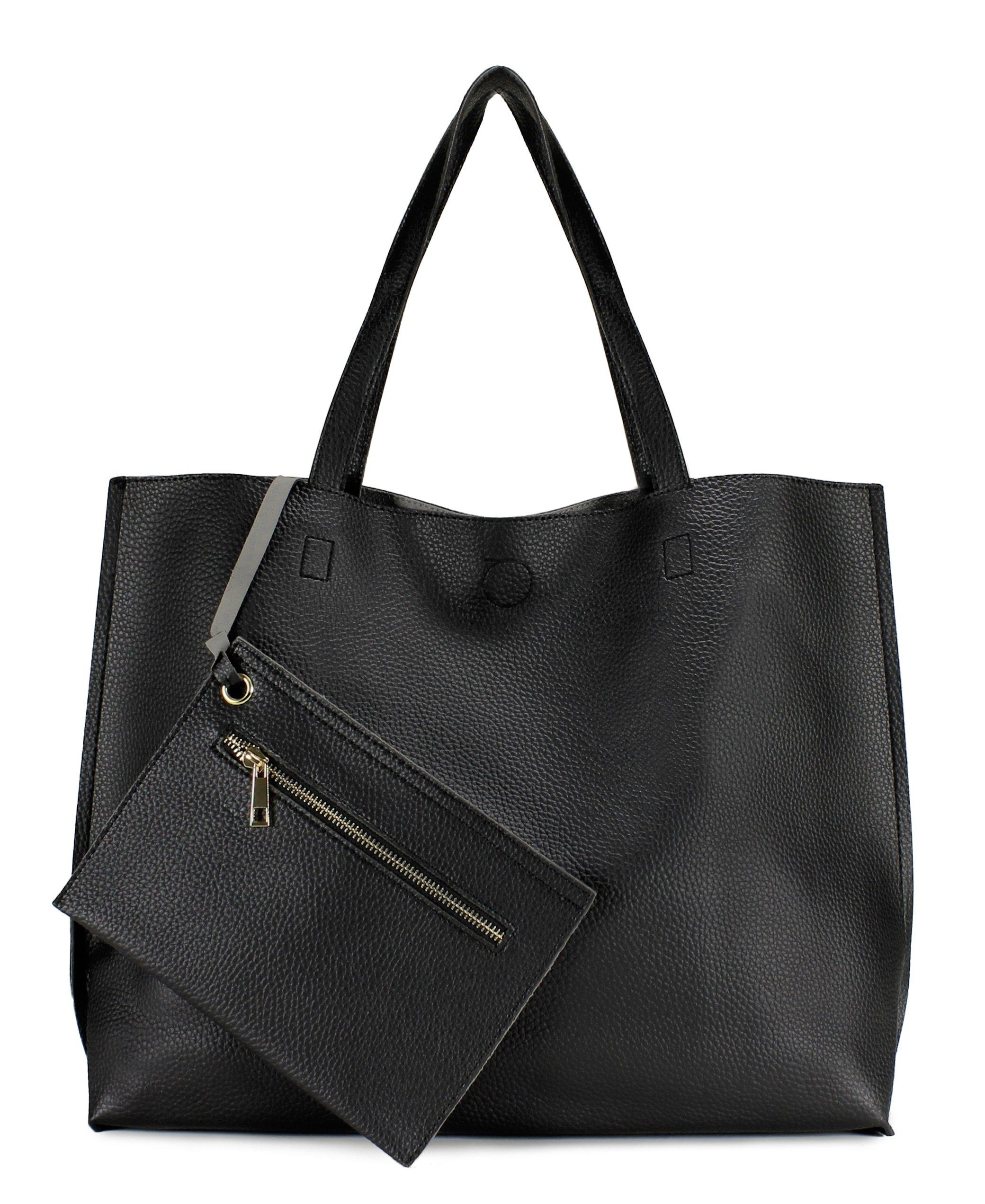 Scarleton Stylish Reversible Tote Bag Top Handle Bag Shoulder bag Satchel bag H18420103 - Black/Grey