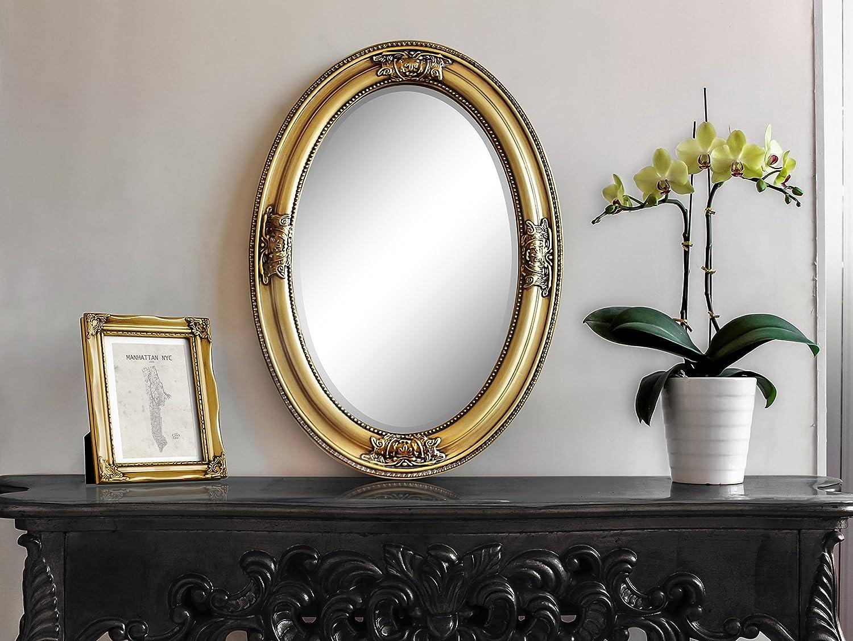 Goldener Shabby Chic Spiegel Oval - Handgefertigt - Barock - Groß ...