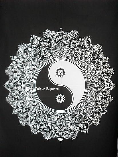 Traditional Jaipur Tie Dye Yin Yang Mandala Wall Art Poster, Celtic Wall Decor, Bohemian