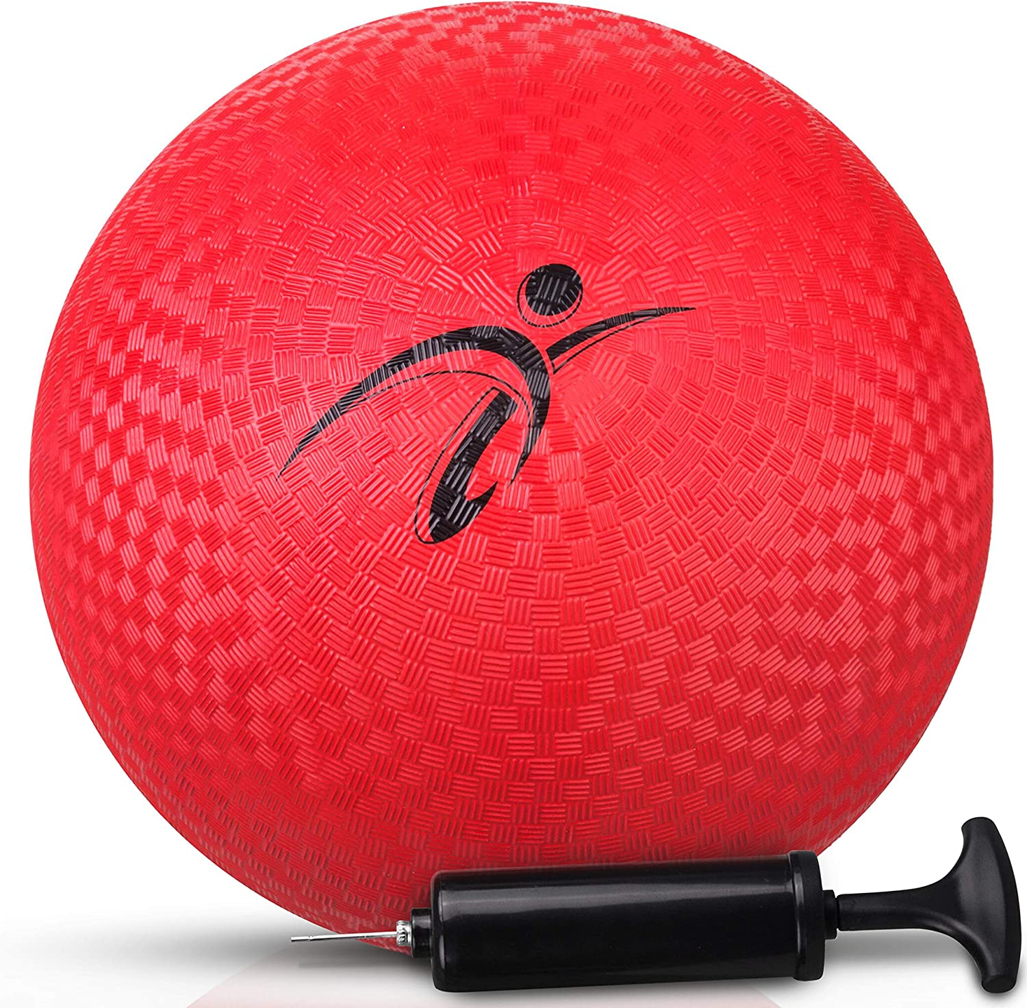 Fitness Factor Playground Kickball with Air Pump for Inflatable, Perfect Rubber Bouncy Dodgeball for Indoor, Outdoor Ball Games, Official Size Four Square Ball and Handball for Kids 10 Inch
