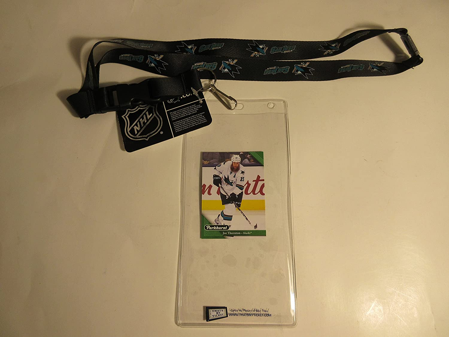 SAN JOSE SHARKS OFFICIAL BLACK LANYARD WITH TICKET HOLDER PLUS COLLECTIBLE PLAYER CARD