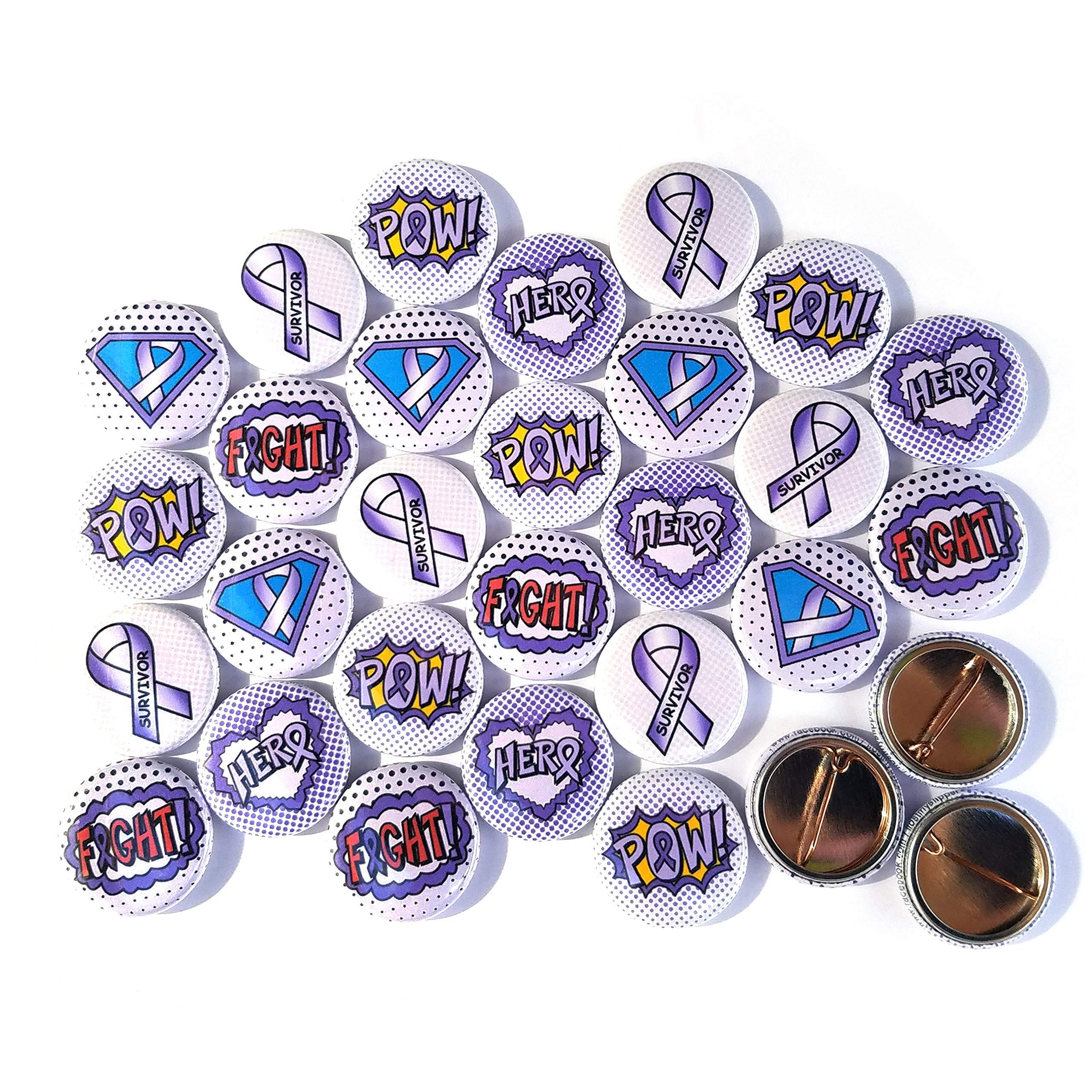 Superhero Awareness Pins - LAVENDER. All Cancer Awareness, Craniosynostosis, Epilepsy, Gynecological Cancer, Hypokalemic Periodic Paralysis, Infantile Spasms, Rett Syndrome. (1'' Pins, 30 Piece Set)