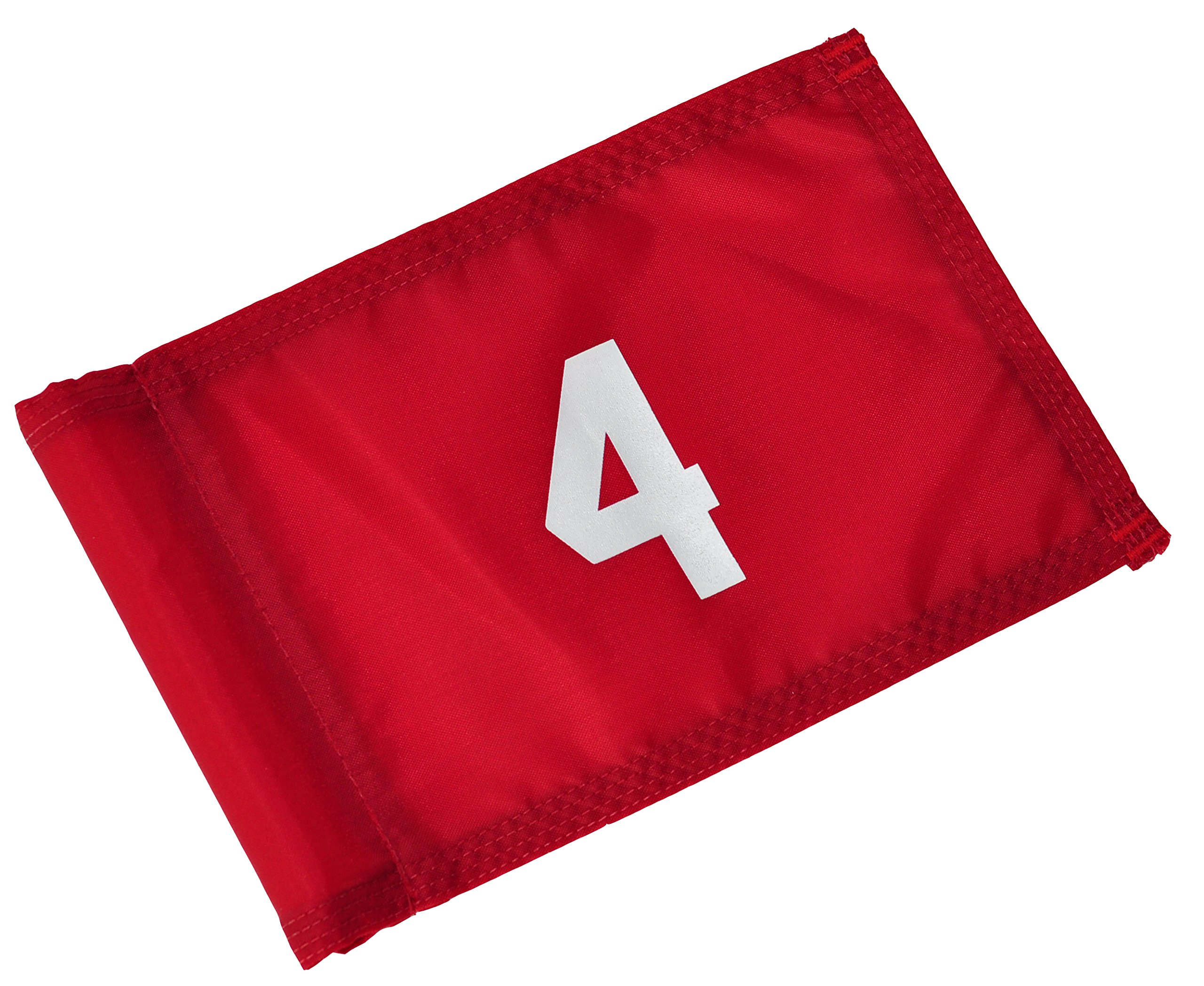 Backyard Putting Green Numbered Golf Flag - Numbered Golf Flag - Red and White 1, 2, 3, 4 (Red with White Numbers, # 4)