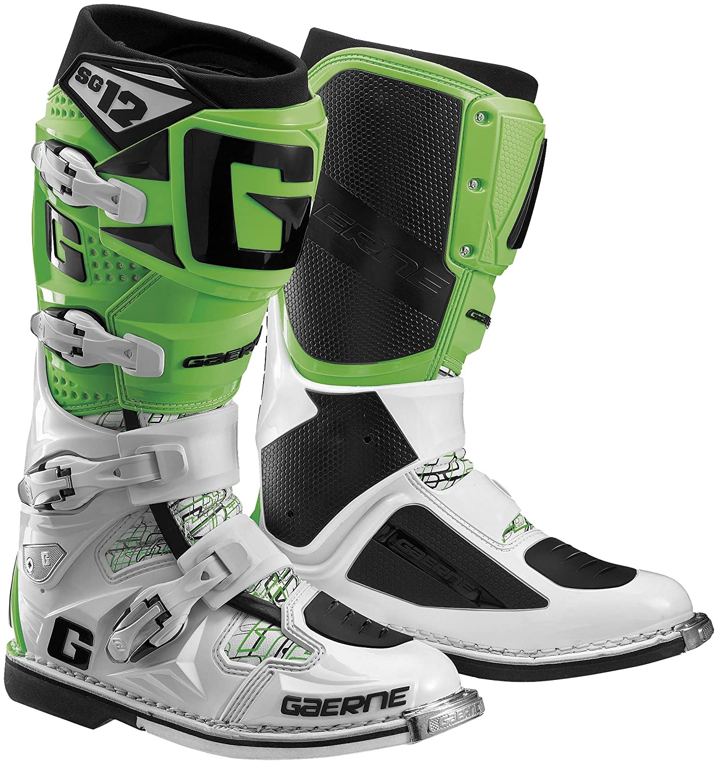 Gaerne SG-12 Boots, Primary Color: Green, Size: 12, Distinct Name: Green, Gender: Mens/Unisex 2174-020-12 B00M9IGN8E 12 M US|Green/White/Black