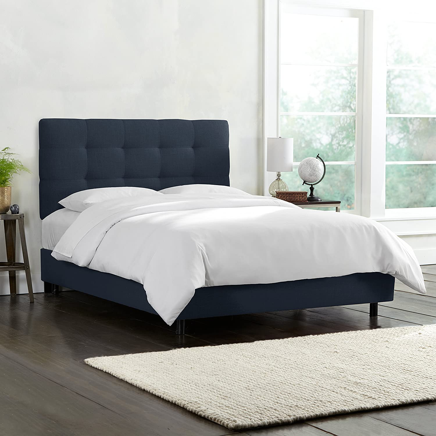 Amazon.com: Skyline Furniture Tufted Bed, King, Linen Navy: Kitchen ...