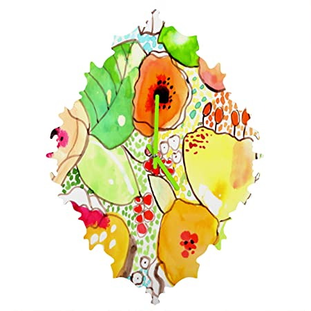 DENY Designs Cayenablanca Organic Flowers Baroque Clock, Small