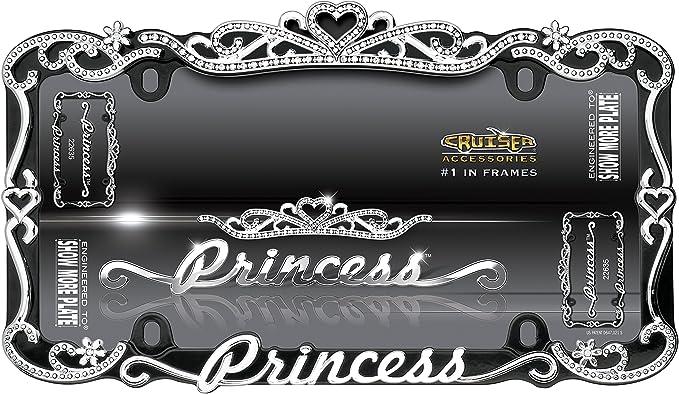 Amazon.com: Cruiser Accessories 22635 Chrome/Black Princess License Plate Frame: Automotive