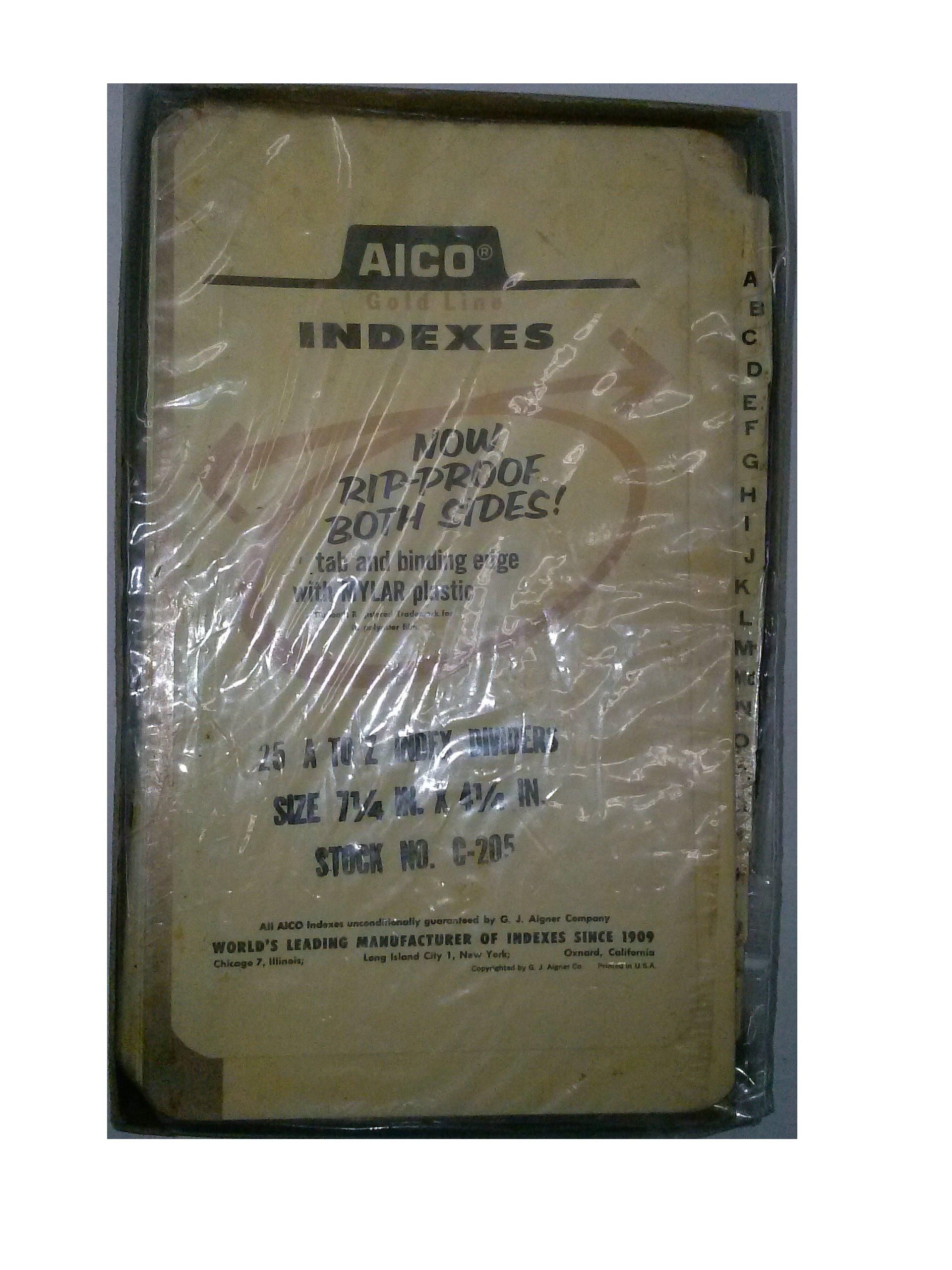 Aico Goldline C-205 A-Z Indexes 7 1/4'' x 4 1/4'' Rip Proof