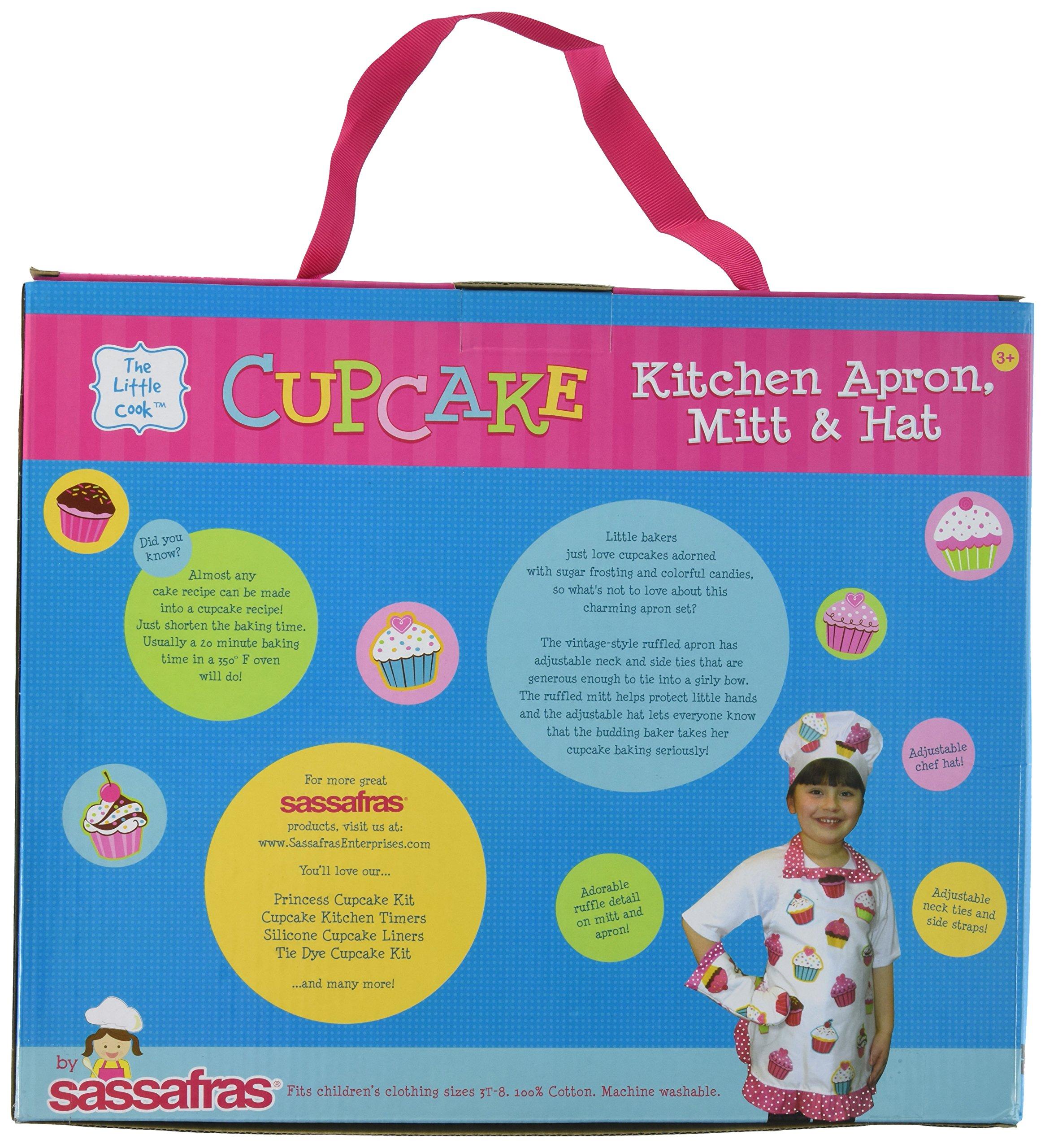Sassafras The Little Cook Ruffled Cupcake Apron Set includes Apron, Kitchen Mitt and Hat by Sassafras (Image #2)