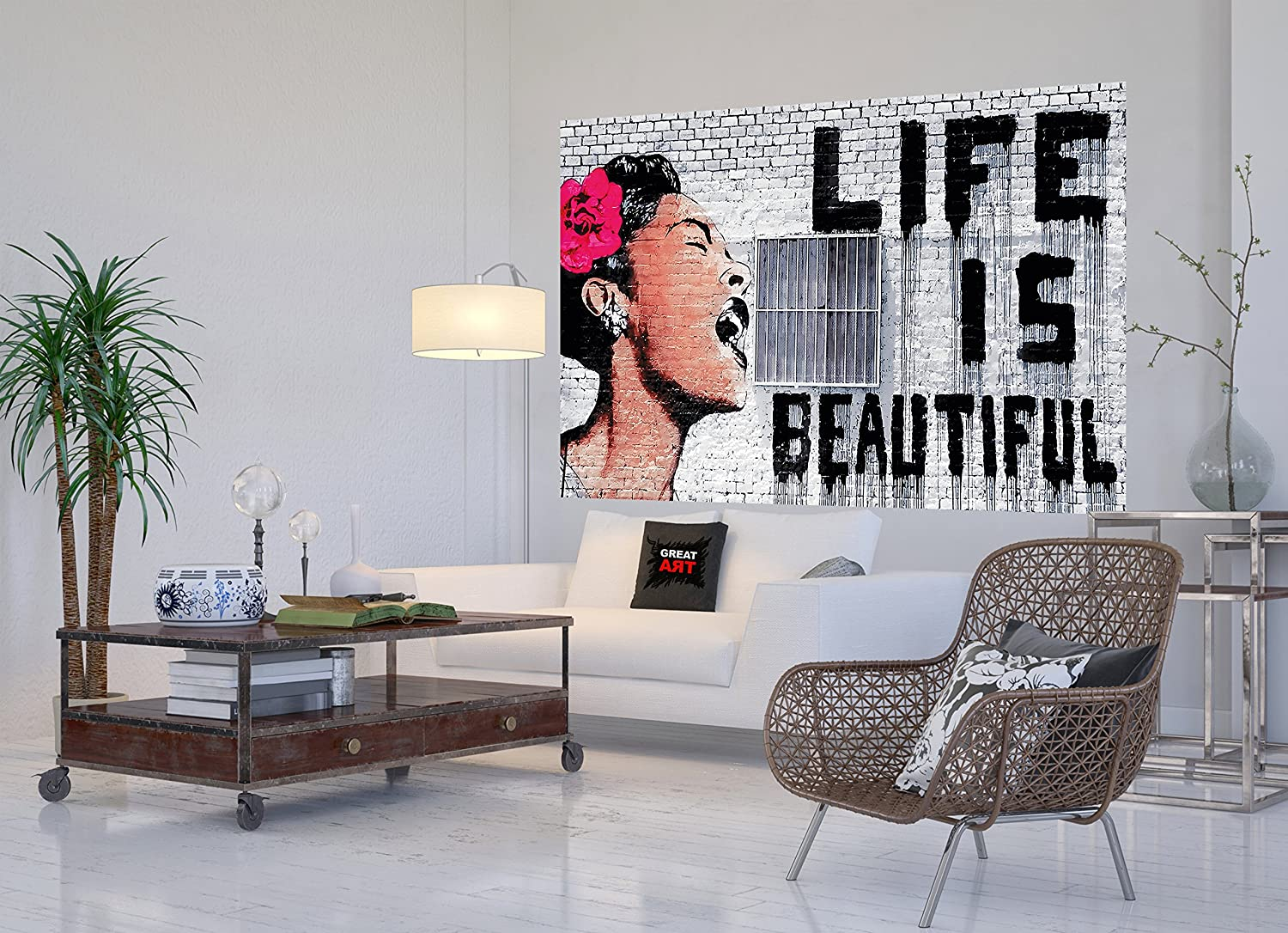 Life is beautiful Wall paper - Life is beautiful mural Banksy Banksy Street-art wall decoration by Great Art 82.7 Inch x 55 Inch