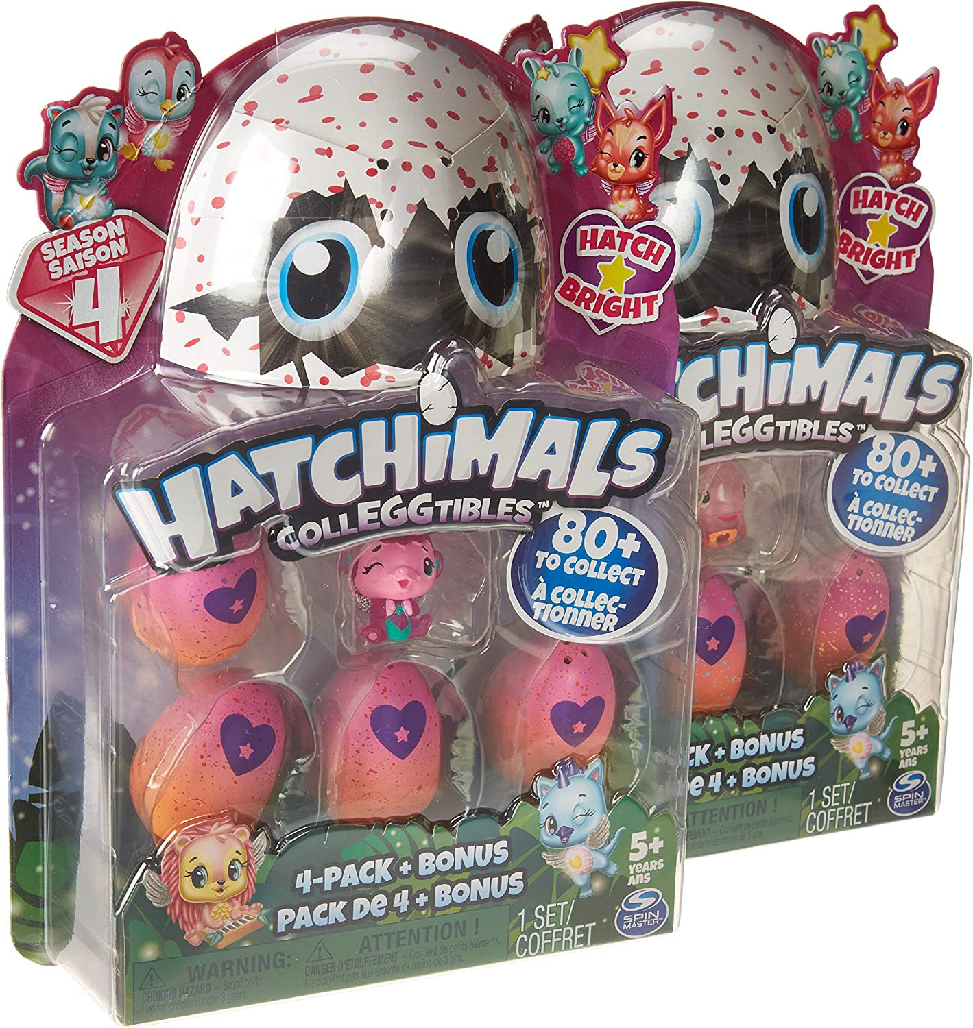 Hatchimals CollEGGtibles Season 4 Kid's Toys (2-Pack) Collectible Playset | Glitter, Metallic, Glow-in-The-Dark- Fuzzy, and Limited Edition Surprises | Girls and Boys