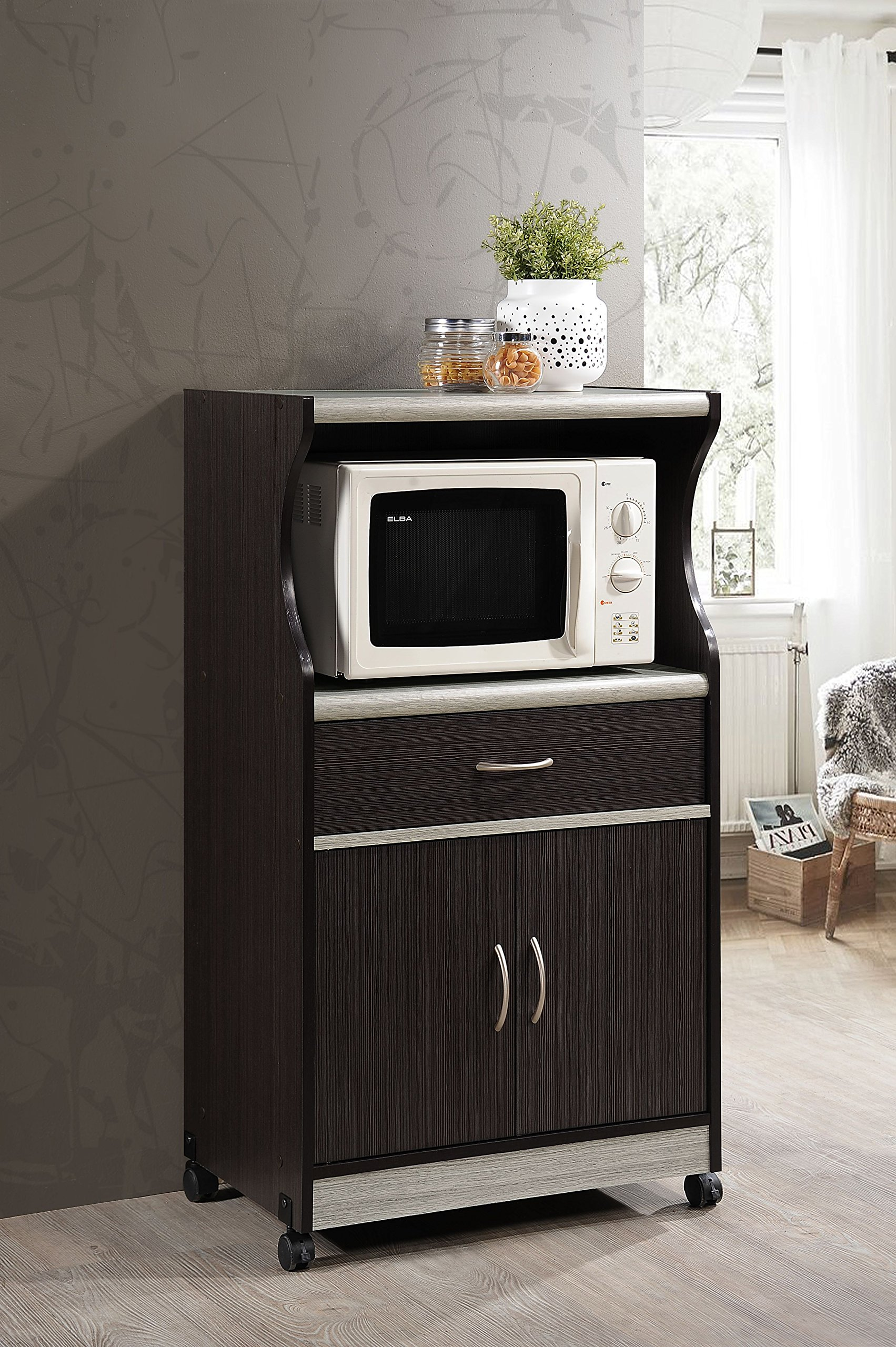 Hodedah Microwave Cart with One Drawer, Two Doors, and Shelf for Storage, Chocolate by HODEDAH IMPORT (Image #2)
