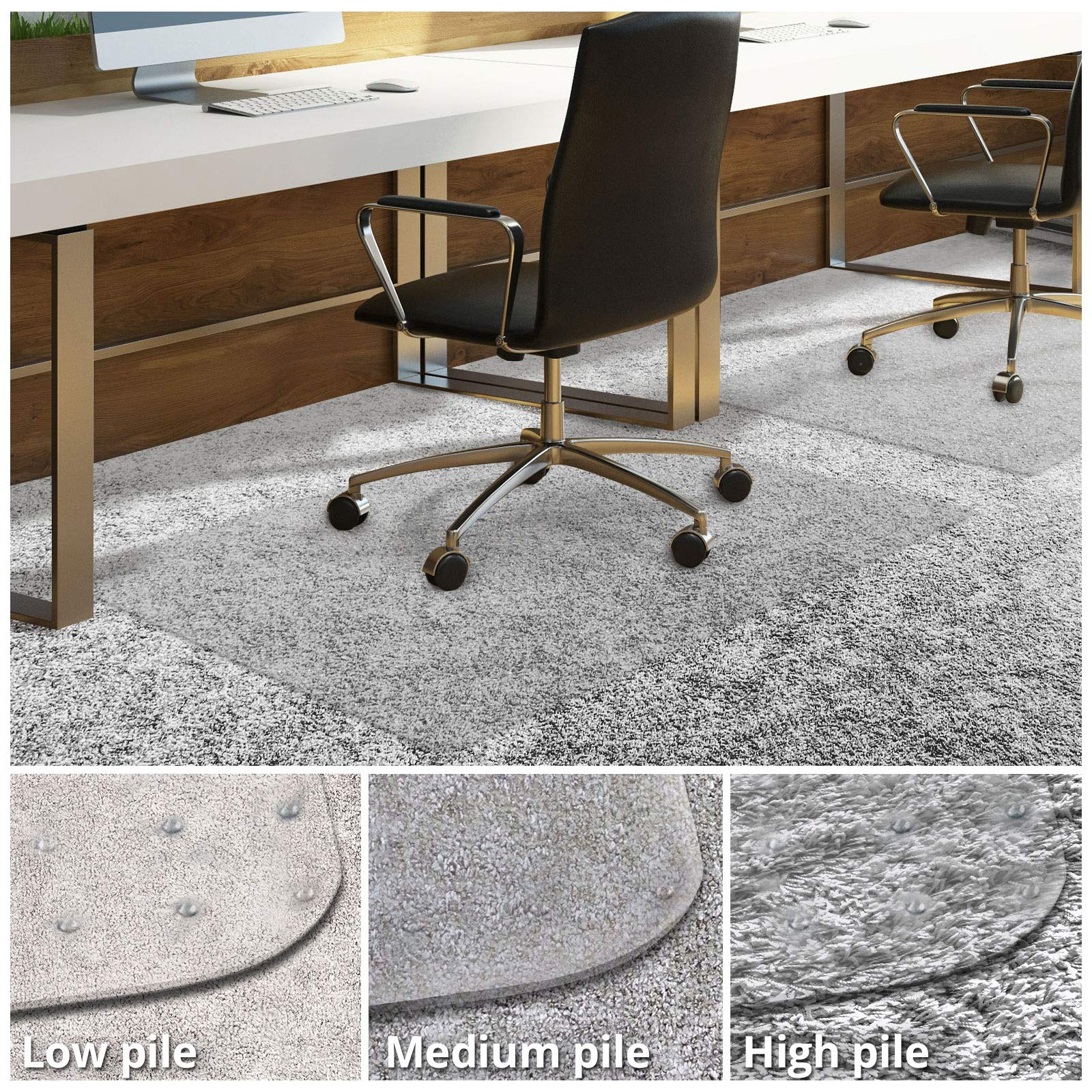 Office Chair Mat for Carpeted Floors | Desk Chair Mat for Carpet | Clear PVC Mat in Different Thicknesses and Sizes for Every Pile Type | High-Pile 48''x52'' with Lip by OfficeMarshal