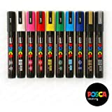 Uni-Ball POSCA PC-5M [10 Pen Set] includes 1 of each - Black, White, Pink, Red, Yellow, Green, Blue, Light Blue, Silver and Gold