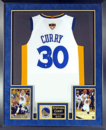 Golden State Warriors Stephen Curry Autographed Home White Jersey (Deluxe  Patch) Framed c82661481