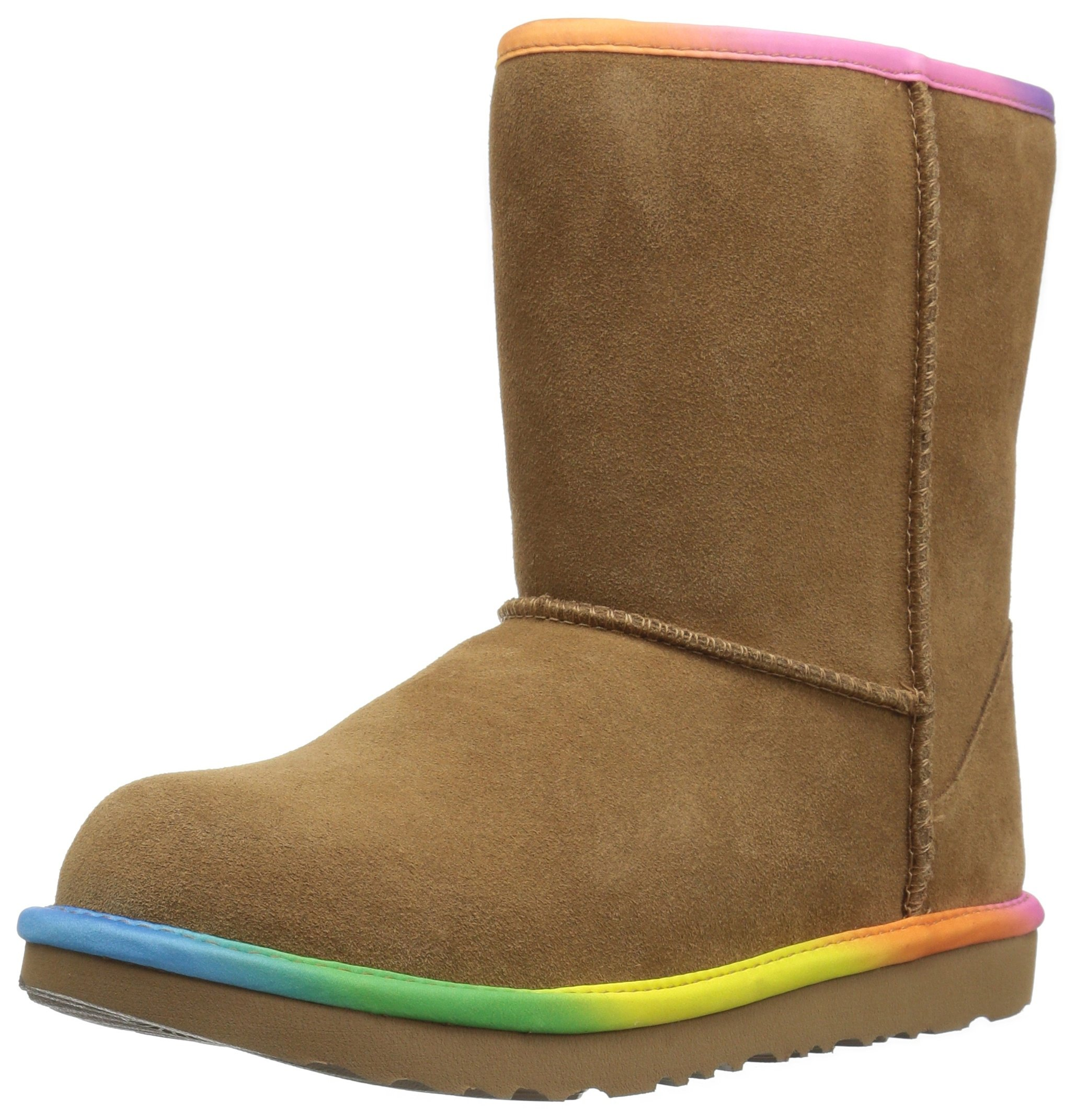 UGG Girls K Classic Short II Rainbow Pull-On Boot, Chestnut, 13 M US Little Kid