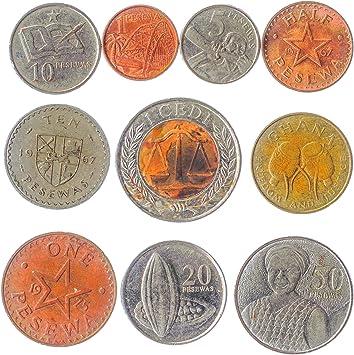 Ghana 10 Monedas 1 Pesewa - 1 Cedi. Antigua Colección De Monedas De África Occidental, Desde 1965. Ideal para Banco De Moneda, Sostenedores De Moneda Y Album De Monedas: Amazon.es: Juguetes y juegos