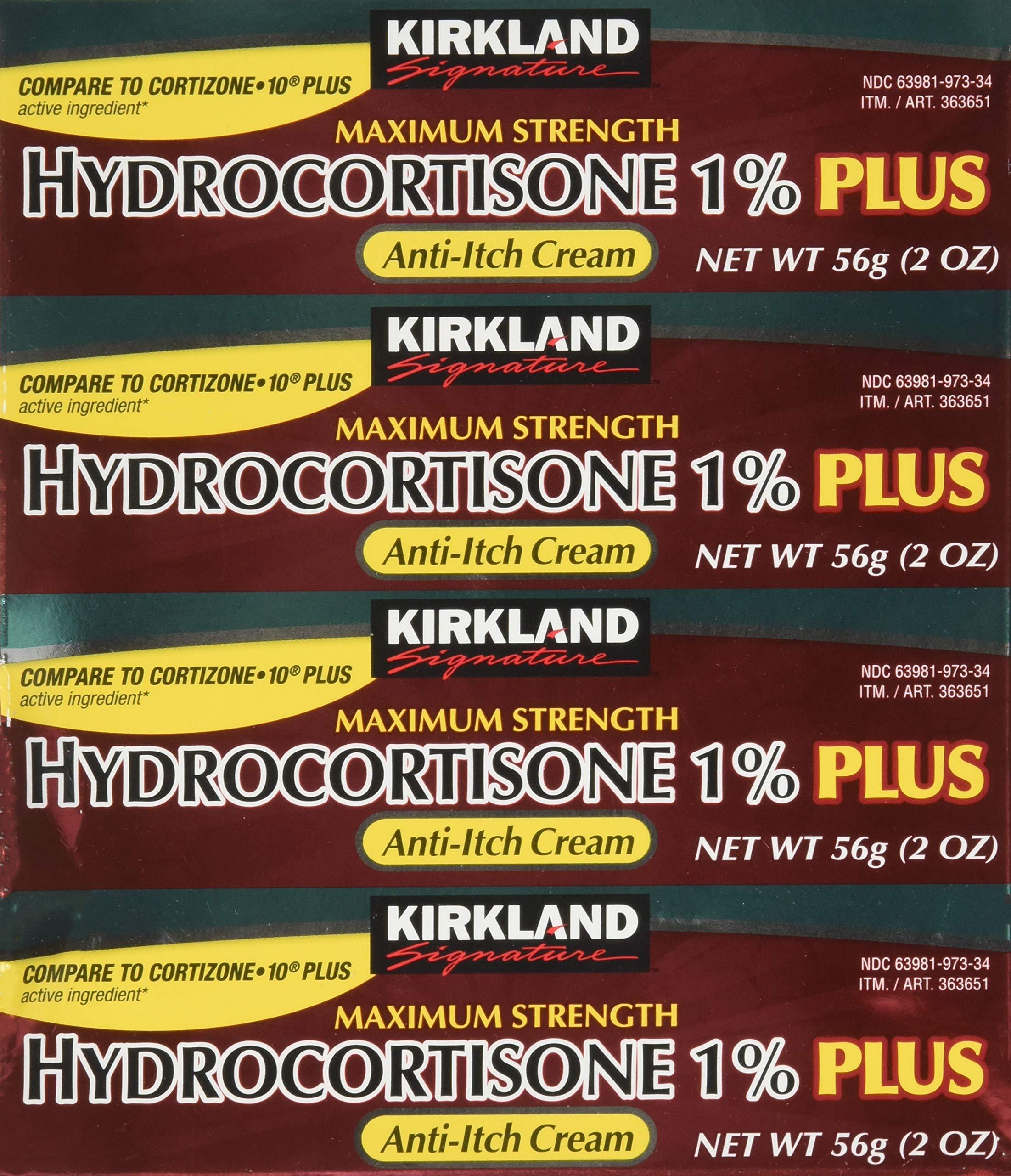Kirkland Signature Maximum Strength Hydrocortisone Cream 1% with Aloe, 2-ounce (pack of 4) by Kirkland Signature